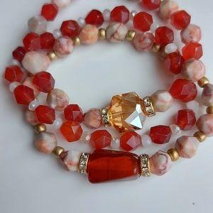 Red quartz and jasper gemstones bracelets stack